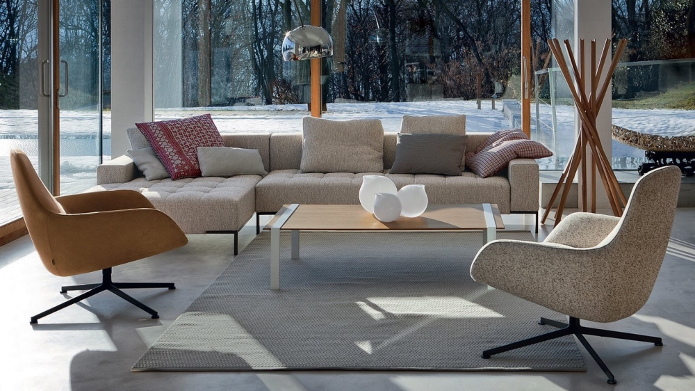 SOFA ALFA  BY EMAF PROGETTI 1999, ARMCHAIRS KENT BY LUDOVICA+ ROBERTO PALOMBA 2013  G CLOTHES -STAND SCIANGAI BY DE PAS, D'URBINO, LOMAZZI -1973